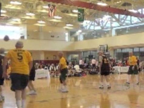 Pat Boone Makes Behind-The-Back Pass At National Senior Games