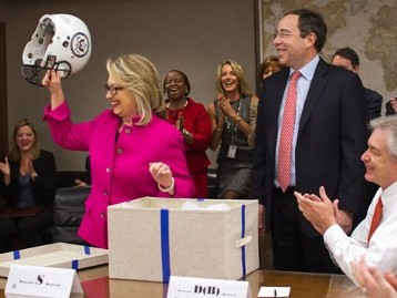 State Dept Staffers Give Hillary Helmet As Welcome Back Gift