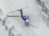 Professional Ski Jumper Tumbles Down Ramp