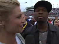 ESPN's Erin Andrews Awkwardly Avoids Kiss From 50 Cent