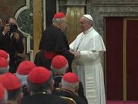 Pope Francis Greets Cardinals