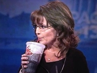 Sarah Palin Sips Super Big Gulp During Speech