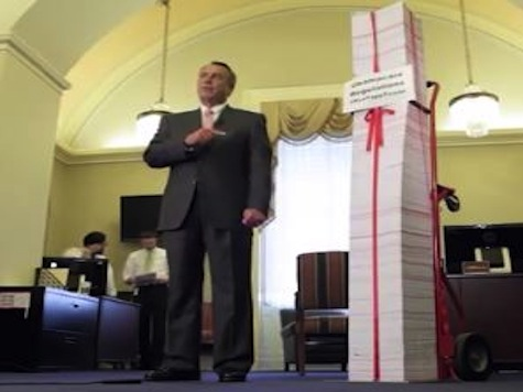 Boehner Shows Off Tax Day 'Red Tape Tower'