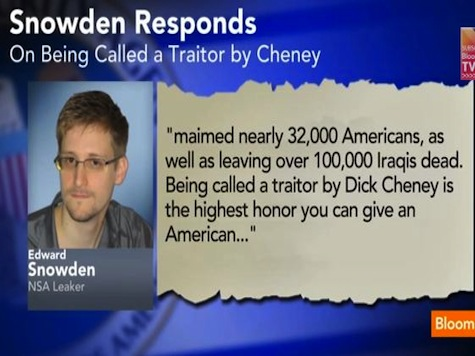 Snowden: Cheney Calling Me 'Traitor' An Honor