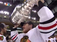 Blackhawks' Andrew Shaw Lifts Stanley Cup Trophy (NSFW Audio)