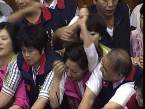 Taiwan Legislators Have Brawl Over High Taxes