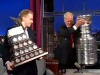 Blackhawks' Patrick Kane Has Fun with Stanley Cup Trophies on Letterman