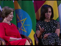 Mrs. Obama, Mrs. Bush Talk Being First Lady