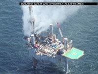 Evacuated Gulf of Mexico Gas Well on Fire