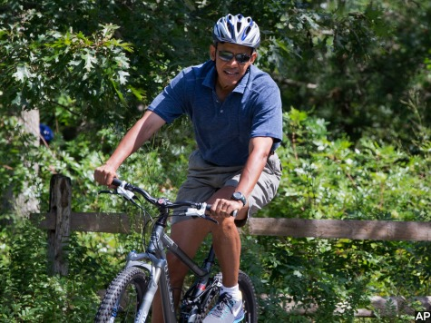 Obamas Go Biking on Martha's Vineyard as Egypt Chaos Rages