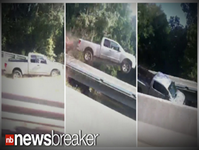 VIDEO: Truck Jumps Off Road, Flies Into Ditch