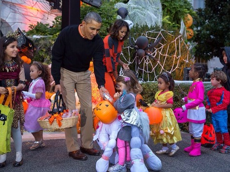 Watch: Obamas Host Trick-or-Treaters at White House