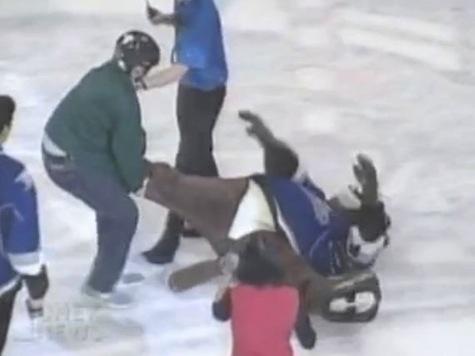 Fan Body Slams Drags Mascot on Ice