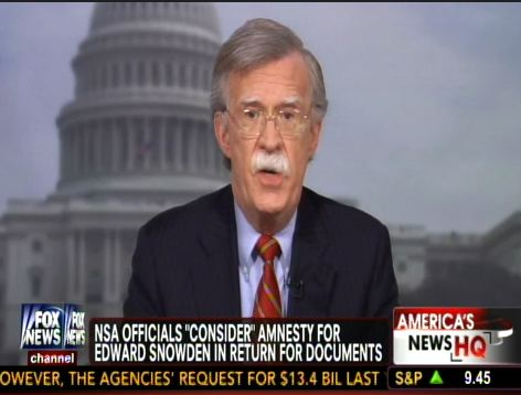 Bolton: Snowden 'Ought to Swing From a Tall Oak Tree'