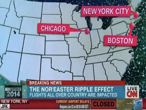 CNN Fail: Boston and New York Improperly Switched on Weather Map