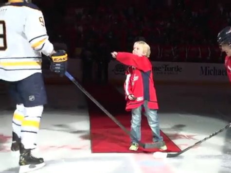 Kid 'Ejects' Hockey Player During Ceremonial Face-Off