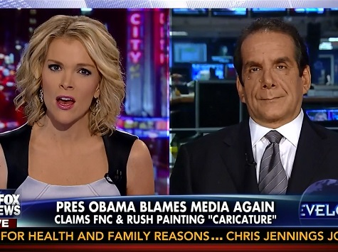 Krauthammer: 'Whiny,' 'Unseemly' for Obama to Blame DC Gridlock on Fox News, Rush Limbaugh