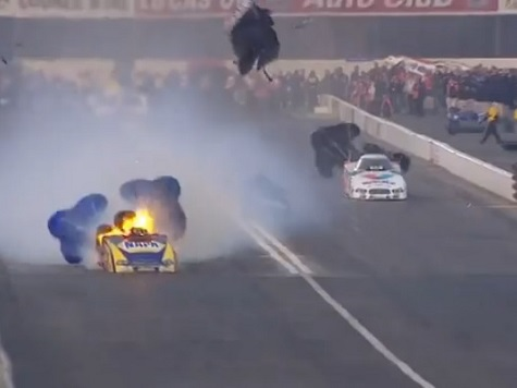 Ron Capps' Engine Explodes at the NHRA's 2014 Winternationals