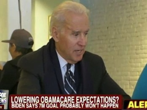 Biden Lowers ObamaCare Expectations: Admits Won't Get 7 Million Sign Ups