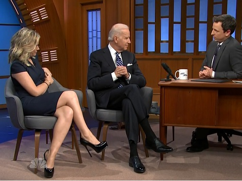 Biden Fields Questions About SOTU Finger-Pointing Incident, 2016 Plans in Meyers' 'Late Night' Debut