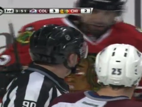 Hockey Player Accidentally Punches Referee During Fight