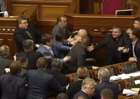 Wild Brawl Breaks Out in Ukraine Parliament