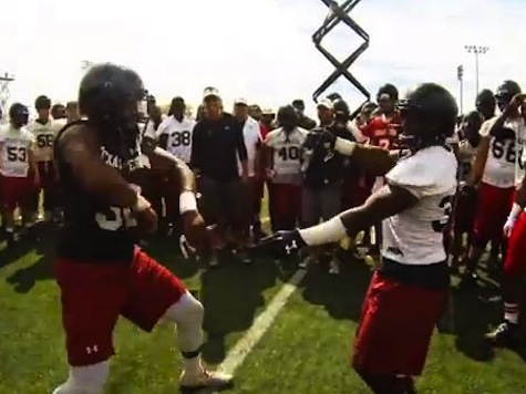 Texas Tech Coach Kliff Kingsbury in Dance Off with Player After Practice