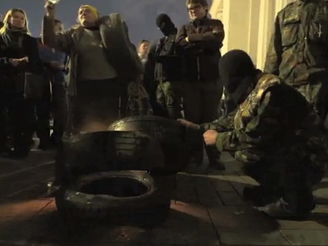 Anti-Russian Protesters March on Ukrainian Parliament