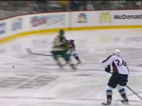 Minnesota Wild's Matt Cooke Knees Colorado Avalanche's Tyson Barrie
