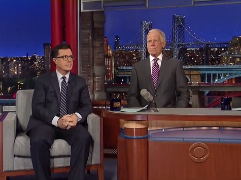 Colbert Makes First Letterman Appearance 'Out of Character' Since Announcement