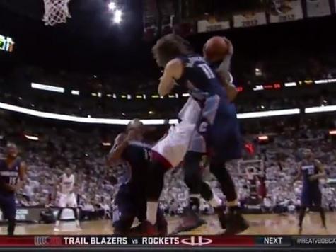 LeBron James Takes Forearm to Throat from Josh McRoberts