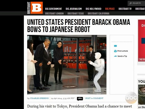 Breitbart, Drudge Get Shout-Out on 'Jimmy Kimmel Live' for Obama-Robot Story