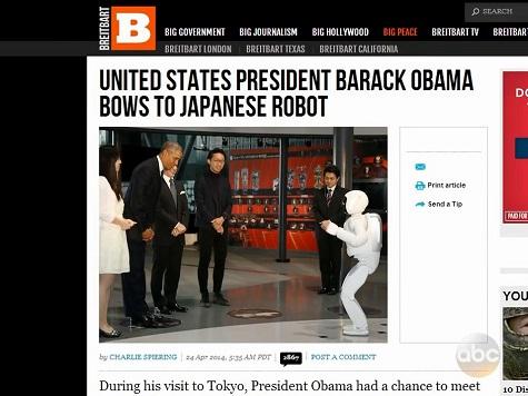 Breitbart, Drudge Get Shout-Out on 'Jimmy Kimmel Live' for Obama-Robot Story