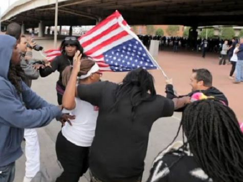 Rams Fans, Ferguson Protesters Clash over Upside-Down American Flag