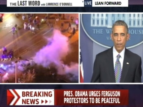 MSNBC Split Screen: Obama Speaks in DC as Riots Erupt in Ferguson