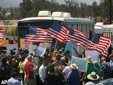 Bus Full of Illegal Immigrants Met by Furious Protesters in California