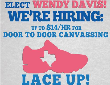 As Poll Numbers Worsen for Wendy Davis, Democrats Forced to Hire Canvassers