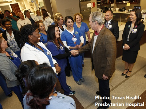 Former President George W. Bush Visits Texas Ebola Healthcare Workers