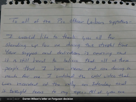 Ferguson Cop Releases Letter Thanking Supporters