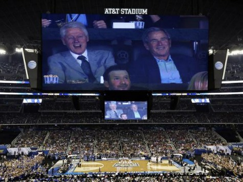 Unity! George W. Bush Watches NCAA Title Game with Bill Clinton
