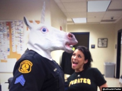 Photo Surfaces of Cop Wearing Unicorn Mask Posing With Porn Star