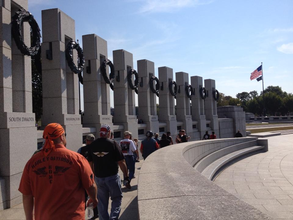 WWII Memorial Honor Riders Greet and Escort Vets