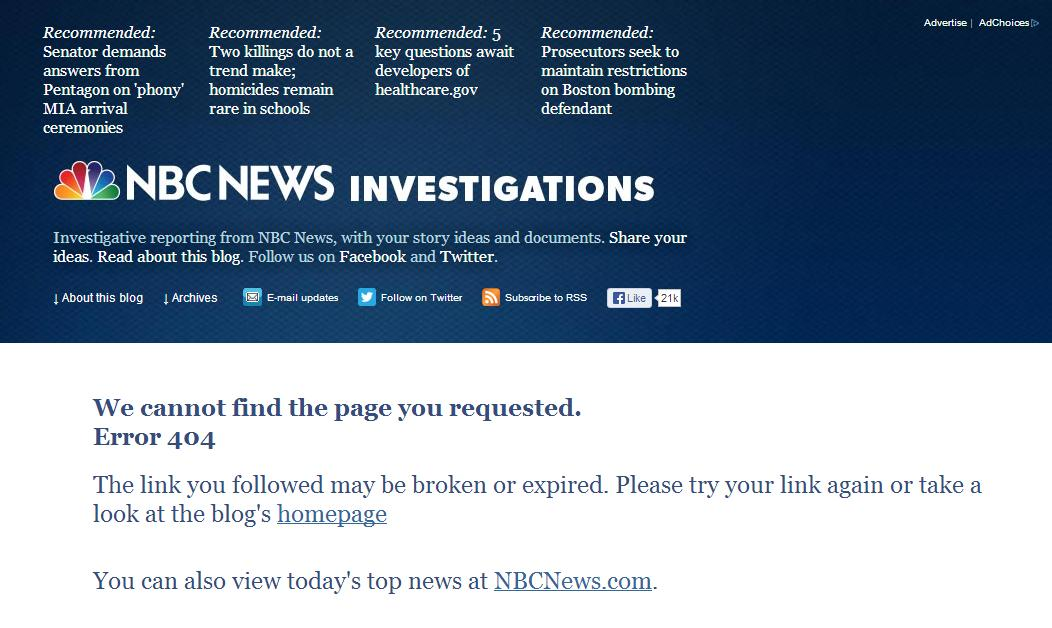 NBC Disappears Deadly ObamaCare Report UPDATE: It's Back
