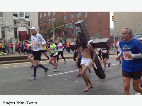 'Jesus' Runs New York City Marathon Carrying a Cross