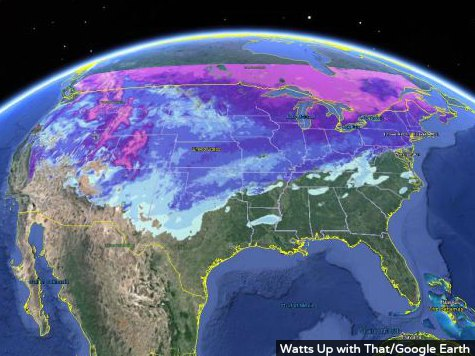 Over Two Thirds of Continental U.S. Covered in Snow