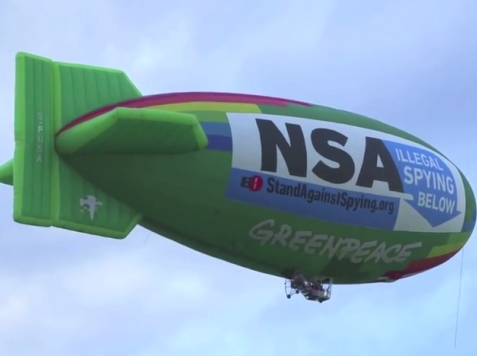 Groups Protest Gov't Snooping with Giant Airship over NSA Facility
