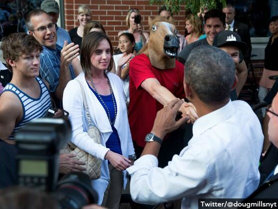 Obama Gets Trolled by Guy in Horse Head Mask