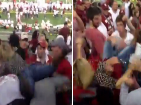 Video: Female Bama Fan Goes Wild, Attacks Male Oklahoma Fan